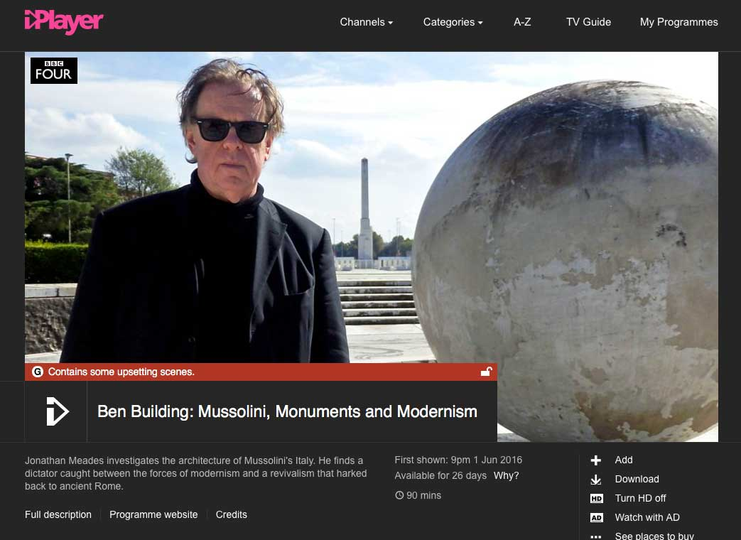 Great programme on BBC 4 for all lovers of architecture